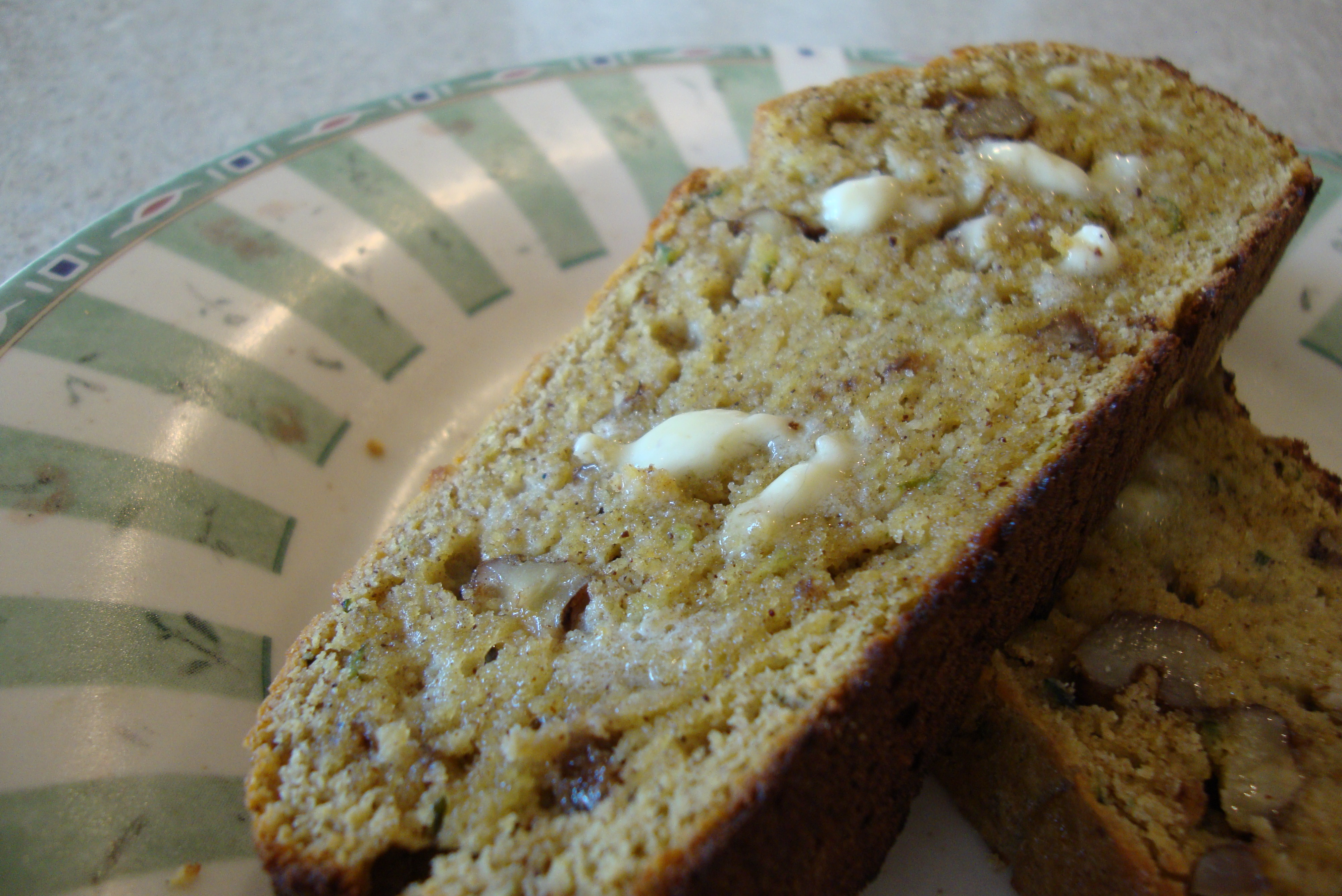 Toasted zucchini bread served with raw milk butter. Yep, Primals can ...