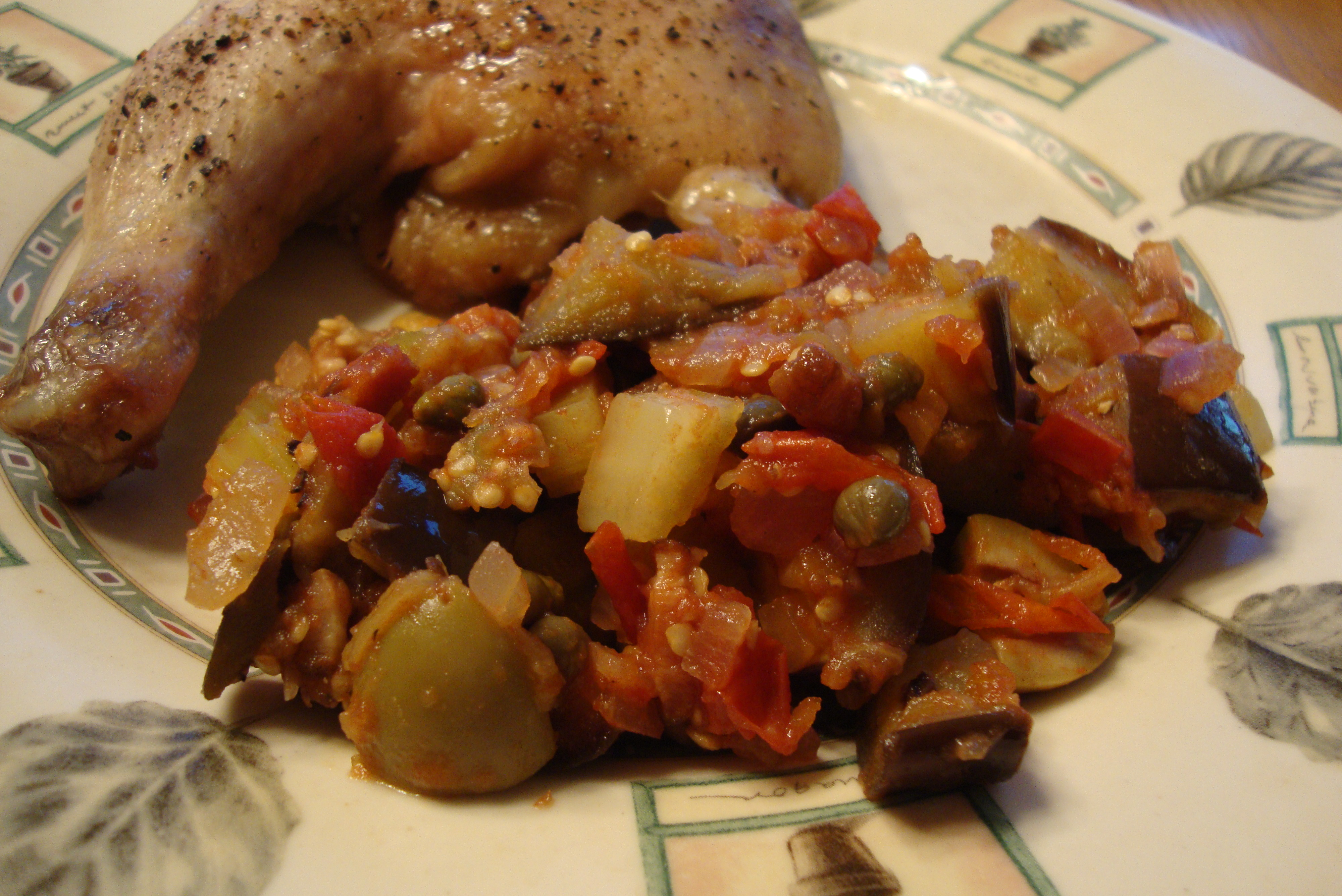 Eggplant Caponata makes a great side dish for roasted chicken!