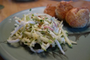Sweet, spicy, crunchy.  You get it all with this slaw!