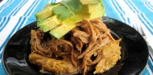 Easy Shredded Pork Over Caramelized Mashed Plantains (photo owned by PaleOMG)